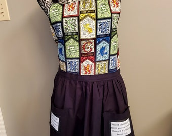 Harry Potter Inspired Apron, Houses Stained Glass Material, Quote Pockets, Pocket Apron, Ready to Ship, Book Nook MarjorieMae