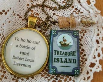 Book Nook, Book Quote Necklace, Quote Necklace, Robert Louis Stevenson, Treasure Island Quote, Yo Ho Ho, Literature Necklace, MarjorieMae