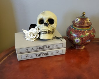 Witches Stack Decoration, Spell and Potion Books Skull and Flowers Decoration, Halloween Decoration, Ready to Ship, Book Nook MarjorieMae