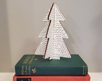 Book Page Wood Christmas Tree, Christmas Decoration, Take Apart For Storage, Bookish Decor,  Ready to Ship, Book Nook MarjorieMae