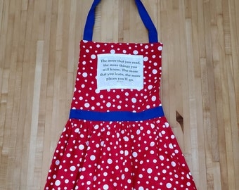 Dr Seuss Quote Apron, The More Places You Will Go, Graduation Gift, Book Quote Apron, Bookish Apron, Ready to Ship, Book Nook, MarjorieMae
