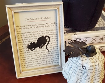 Poe The Pit and the Pendulum Book Page, Framed Book Page, Edgar Allan Poe, Art, Halloween Decoration, Ready to Ship, Book Nook MarjorieMae