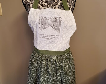 Robert Frost Apron, Road Less Traveled Apron, The Road Not Taken Apron, Book Nerd Apron, Green Apron, Ready to Ship, Book Nook MarjorieMae