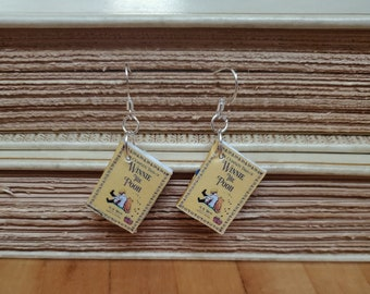 Winnie the Pooh Book Earrings, Mini Book Earrings, Winnie the Pooh Book Cover Earrings, Ready to Ship, Book Nook MarjorieMae