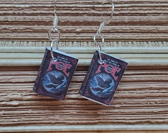 Edgar Allan Poe Book Earrings, Mini Book Earrings, Tales of Poe Book Cover Earrings, Miniature Book, Ready to Ship, Book Nook MarjorieMae