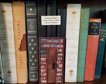 Bookish Library Book Nook Door, Book Art, Book Decor, Bookshelf Decor, Reader Gift, Book Nook, Ready to Ship, MarjorieMae
