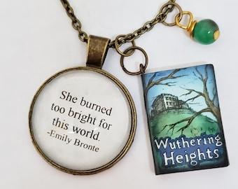Wuthering Heights Quote Necklace, She Burned Too Bright Quote, Emily Bronte, Book Charm, Reader Gift, Ready to Ship, Book Nook, MarjorieMae