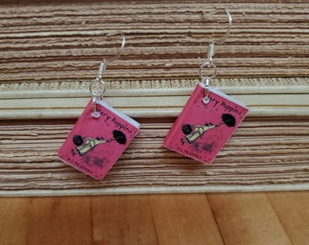 Marry Poppins Book Earrings, Mini Book Earrings, Mary Poppins Book Cover Earrings, Ready to Ship, Book Nook MarjorieMae