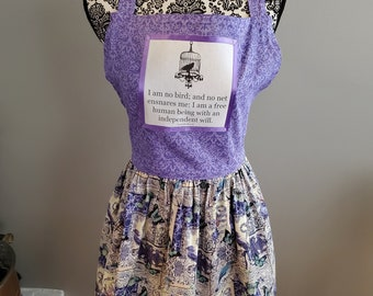 Wuthering Heights Quote Apron, I am No Bird, Book Nerd Apron, Book Quote Apron, Bookish Apron, Ready to Ship, Book Nook, MarjorieMae