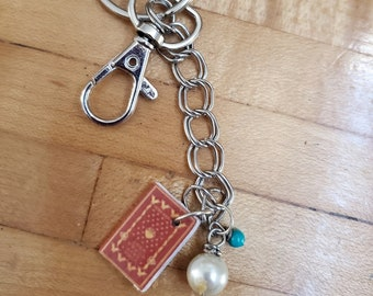 Vintage Book Keychain, Mini Book Keychain, Reader Keychain, Ready to Ship, Bookish Keychain, Red, Swivel Clasp, Book Nook, MarjorieMae