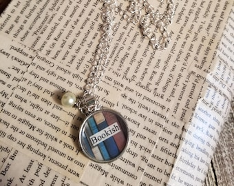 Bookish Necklace, Bookshelf Necklace, Book Lover Necklace, Book Nerd Necklace, Ready to Ship, Book Nook, MarjorieMae
