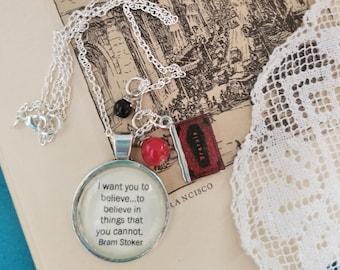 Book Nook, Book Quote Necklace, Quote Necklace, Bram Stoker Necklace, Dracula Quote Necklace, Literature Necklace, MarjorieMae