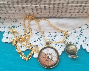 Compass Image Necklace, Globe Charm Necklace, Travel Necklace, Spinning Globe Charm Necklace, Book Nook, MarjorieMae