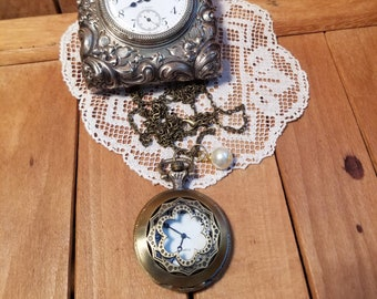 Flower Pocket Watch Necklace, Clock necklace, Working Watch Necklace, Pearl Bead, Floral Watch, Long Watch Necklace, MarjorieMae