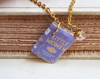 Little Women Mini Book Necklace, Louisa May Alcott, Reader Gift, Miniature Book Necklace, Book Charm, Book Nook, Ready to Ship, MarjorieMae