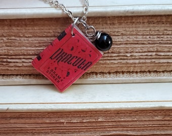 Dracula Mini Book Necklace, Bram Stoker, Miniature Book Necklace, Reader Gift, Book Charm, Book Nook, Ready to Ship, MarjorieMae