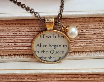 Alice in Wonderland Book Page Necklace, Real Book Page, Alice, The Queen, Reader Gift, Book Gift, Book Page Pendant, Book Nook, MarjorieMae