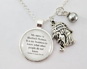 Sherlock Holmes Quote Necklace, Sherlock Charm Necklace, My Name is Sherlock Holmes, Book Gift, Book Quote, Book Nook, MarjorieMae