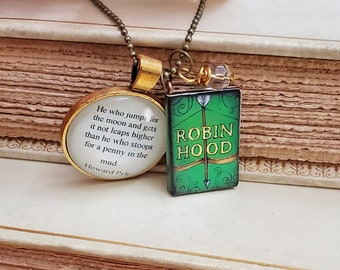 Robin Hood Quote Necklace, Literature Necklace, Quote Necklace, Reader Gift, Reach for the Moon Quote, Ready to Ship, Book Nook, MarjorieMae