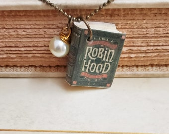 Robin Hood Mini Book Necklace, Book Necklace, Miniature Book Necklace, Reader Gift, Book Charm, Book Nook, Ready to Ship, MarjorieMae