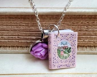 Heidi Mini Book Necklace, Johanna Spyri, Miniature Book Necklace, Reader Gift, Book Charm, Book Nook, Ready to Ship, MarjorieMae