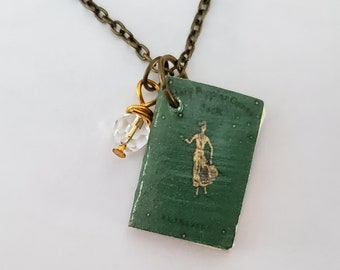 Mary Poppins Mini Book Necklace, P.L. Travers, Miniature Book Necklace, Reader Gift, Book Charm, Book Nook, Ready to Ship, MarjorieMae