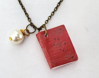 Vintage Book Mini Book Necklace, Red Book Necklace, Miniature Book, Reader Gift, Book Charm, Book Nook, Ready to Ship, MarjorieMae