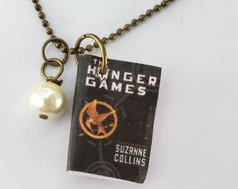 Hunger Games Mini Book Necklace, Suzanne Collins, Reader Gift, Miniature Book Necklace, Book Charm, Book Nook, Ready to Ship, MarjorieMae