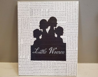 Little Women Book Page Canvas, Book Page Canvas, Book Art, Real Book Page Canvas, Bookish Art, Ready to Ship, Book Nook MarjorieMae