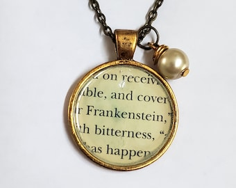 Frankenstein Book Page Necklace, Real Book Page, Reader Gift, Book Page Pendant, Bookish, Book Nook, Ready to Ship, MarjorieMae