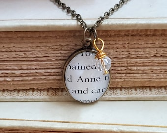 Anne of Green Gables Book Page Necklace, Real Book Page, Bookish, Reader Gift, Book Page Pendant, Book Nook, Ready to Ship, MarjorieMae