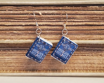 Sherlock Holmes Book Earrings, Mini Book Earrings, Sherlock Holmes Book Cover Earrings, Reader Gift, Book Nook, Ready to Ship, MarjorieMae