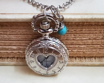 Silver Heart Pocket Watch Necklace, Working Watch, Long Necklace, Watch Pendant, Clock Necklace,Blue and Purple Bead, Timepiece, MarjorieMae
