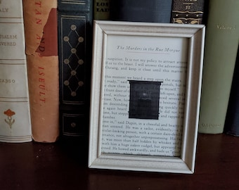 Poe The Murders In The Rue Morgue, Book Page, Framed Book Page, Edgar Allan Poe, Halloween Decoration, Ready to Ship, Book Nook MarjorieMae