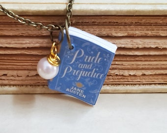 Pride and Prejudice Mini Book Necklace, Jane Austen, Reader Gift, Miniature Book Necklace, Book Charm, Book Nook, Ready to Ship, MarjorieMae