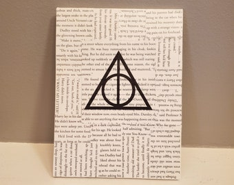 Harry Potter Book Page Canvas, Book Art, Harry Potter Canvas, Real Book Page Canvas, Bookish Art, Ready to Ship, Book Nook, MarjorieMae