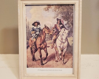 Framed Vintage Three Musketeers Book Page, Musketeers Book Page in Frame, D'Artagnan, Book Decor, Ready to Ship, Book Nook MarjorieMae