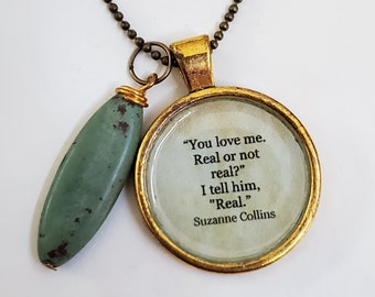 The Hunger Games Quote Necklace, Suzanne Collins, Love Quote, Book Quote Necklace, Book Nook, Reader Gift, Ready To Ship, MarjorieMae