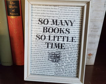 Book Page So Many Books So Little Time In Vintage Frame, Reader Gift, Real Book Page, Ready to Ship, Book Nook MarjorieMae