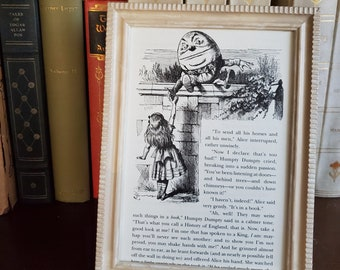 Framed Alice in Wonderland Book Page, Alice Book Page in Frame, Humpty Dumpty, Reader Gift, Book Decor, Ready to Ship, Book Nook MarjorieMae