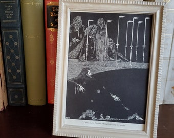 Framed Vintage Poe Book Page, Edgar Allan Poe Book Page in Frame, Reader Gift, Book Decor, Ready to Ship, Book Nook MarjorieMae