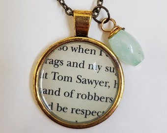 The Adventure's of Tom Sawyer Book Page Necklace, Real Book Page, Tom Sawyer, Reader Gift, Book Page Pendant, Book Nook, MarjorieMae