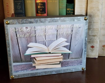 Longfellow Quote Book Image Wood and Metal Sign, Love of Learning Quote, Book Quote, Reader Gift, Ready to Ship, Book Nook MarjorieMae