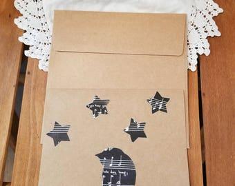 Sheet Music Bird and Stars Note Cards, Bird Note Cards, Sheet Music Note Cards, Set of Four, Bird on a Line, MarjorieMae