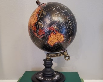 Globe With Travel Quote, Not All Who Wander, Black Globe, Medium Globe, Ready to Ship, Book Nook MarjorieMae