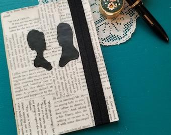Pride and Prejudice Journal, Book Page Journal, Blank Journal, Jane Austen, Book Nook, Small Journal, Silhouette, Journaling, MarjorieMae