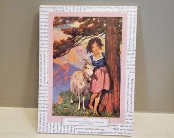 Heidi Book Page Canvas, Book Art, Illustration Canvas, Real Book Page Canvas, Bookish Art, Ready to Ship, Book Nook, MarjorieMae