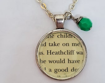 Wuthering Heights Book Page Necklace, Real Book Page, Heathcliff, Ready to Ship, Reader Gift, Book Page Pendant, Book Nook, MarjorieMae