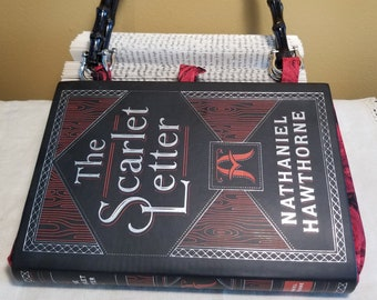 The Scarlet Letter Book Purse, Faux Leather Book Purse, Special Occasion Purse, Unique Formal Purse, Hawthorne, Ready to Ship, MarjorieMae