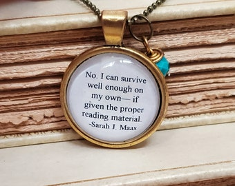 Reading Quote Necklace, Book Quote necklace, Proper Reading Material, Reader Gift, Bookish Necklace, Ready to Ship, Book Nook, MarjorieMae